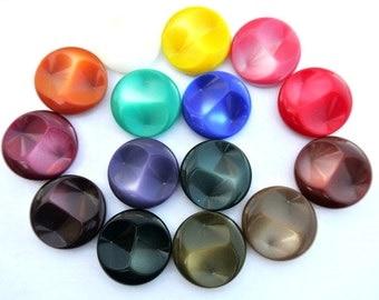 15 Vintage matching buttons, 15 colors plastic  large 30mm UNIQUE