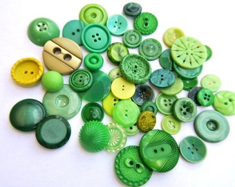 50 Green  buttons antique and vintage plastic buttons in 50 designs, can be use as beads for button jewelry