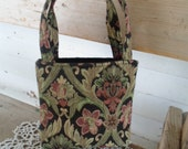 Floral Tapestry Purse, Small Handbag, Victorian,  Black, sage green, mauve, tan  Bag. Small Tote, Handmade OOAC  BOHO
