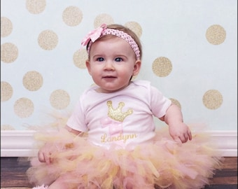 1st Birthday Girl Outfit - Pink and Gold - Baby Girl Birthday Tutu