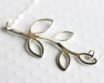 Silver Leaf Necklace Branch Necklace Sterling Silver Gold Plate Leaf Necklace