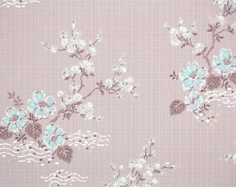 1950's Vintage Wallpaper - Blue and White Flowers on Pink