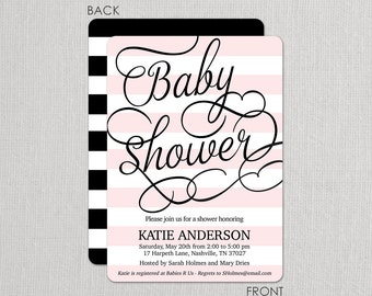 Fresh Stripes Baby Shower Invitations . Sip and See . Beautiful 2 sided design
