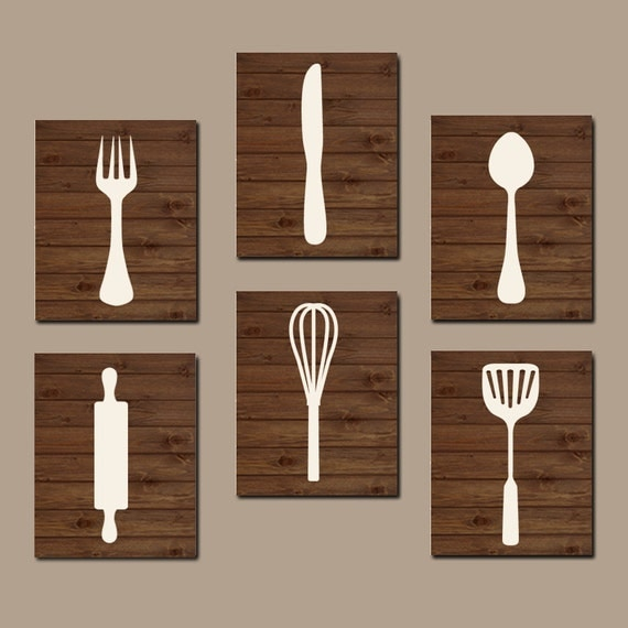 Wood Wall Decor For Kitchen : Kitchen wall art cooking utensils by