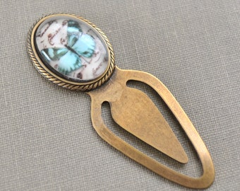 Butterfly Bookmark, Glass Cabochon Metal Bookmark, Blue Butterfly, Metal Book Clip, Gift for Readers, Reading Clip, Lapin du Printemps