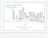 25, Single Sided, Modern, Custom Illustrated, Austin, Texas City Skyline Save the Dates