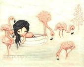 Pink Flamingo Print Nautical Girl in Boat Cute Bird Nursery Children's Wall Art LARGE PRINT 14 x 11
