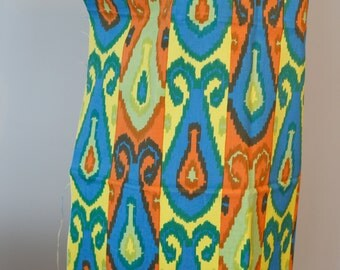 great vintage IKAT ethnic print fabric - bold colors- large scale - furnishing weight