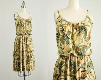 70s Vintage Sage Green Leaf Print Sun Dress / Size Small