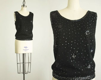 60s Vintage Black Beaded Sweater Top / Size Small