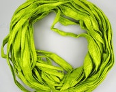Sari silk Ribbon Recycled Silk Sari Ribbon seamed ribbon Chartreuse lime green
