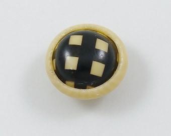 Vintage Black & Cream Check Celluloid Button
