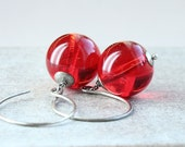 Red Glass Earrings   Oxidized Silver   Dangle  Glass Jewelry Bright  Color Jewellery  Red Earrings  Colored  Jewelry