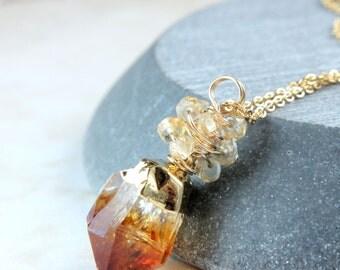 Citrine Necklace  November Birthstone Gemstone Jewelry Golden Raw Citrine Jewelry Nugget Necklace  Yellow  Point Gemstone Pendant