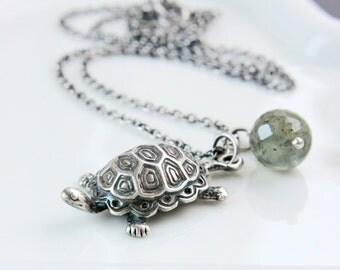 Charm Necklace    Oxidized Silver  Turtle Pendant  Charm Pendant Moss Aquamarine  Jewelry Green March Birthstone  Necklace Gemstone Jewelry