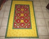 "FLOORCLOTH  French Country  painted canvas rug  HONEY BEES 30""x56"""