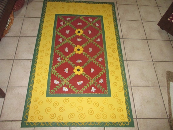 Floorcloth French Country Painted Canvas Rug Honey Bees