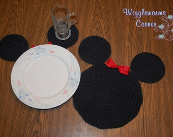 Handmade Crocheted Inspired Mickey/Minnie Mouse Placemats - (Sets of 2, 4,6 or 8)