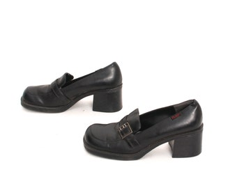 size 9.5 PLATFORM black vegan leather 80s 90s GRUNGE GOTH chunky buckle high heel loafers