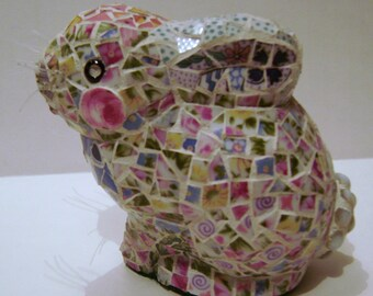 Mosaic Broken China 3D Rabbit