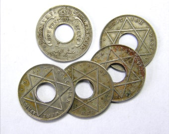 Set of 5 - 1946 British West Africa Holed Coins Charms Disks