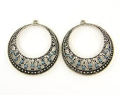Large Antique Silver Hoop Earring Findings with Blue Beads Boho Tribal Earring Dangles Filigree Earring Components Jewelry Supply |B4-4|2