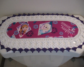 "Aunt Roo's MINI Frozen Elsa & Anna ""Forever Sisters"" fabric runner w/ crocheted edging for toilet tank or small shelf"
