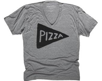 Vneck Pizza Tshirt - graphic tee - back to school shirt funny tshirt unisex - v neck shirt - mens tshirt - gift for him - foodie dad t-shirt