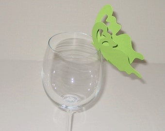 Wine Glass Butterfly Place Card Light Green (50)