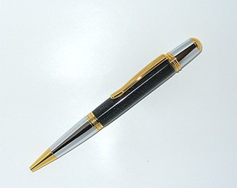 Handmade  Pen MONET Style Twist Ballpoint Pen Parker Charcoal Black -- Gold/Chrome