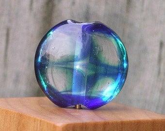 Handmade Glass Lampwork Focal Bead Teal and Cobalt Transparent Lentil