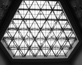 Abstract Architecture - Window to the Sky (black and white photography print, geometric triangle window sky photo, urban minimal modern)
