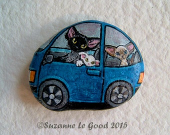 DEVON REX CAT in car painting on pebble by Suzanne Le Good