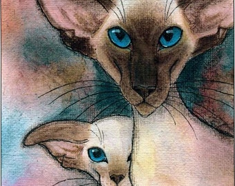SIAMESE CAT PRINT - large,  Limited Edition, signed by Suzanne Le Good