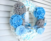 "Blue Birds - 8""  Yarn Wreath  - Home Decor - Door Decor - Wall Decoration- Nursery Room - Kids Children Room- READY TO SHIP"