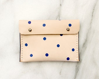 Leather Pouch . Vege Tanned Leather . Dotted Pouch . Handmade Pouch . Purse . Wallet . Cardholder . Genuine Leather . Gift for Her . Natural