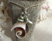 Pearl Crystal Spiral Seashell Crochet Wrap Bead Necklace