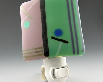 Modern Geometric Etched Frosted Matte Fused Glass Night Light in Lilac Purple Mint Seafoam Green