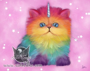 Ash Evans rainbow Mewnicorn cat unicorn print