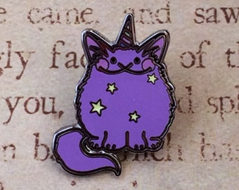 1 in. Mewnicorn cat unicorn fantasy pin by Ash Evans