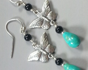 Sterling Silver Butterfly Earrings with Turquoise and Black Onyx
