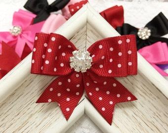 New Ribbon Bows! Set of 2pcs handmade Grosgrain Dots Bows--red (GR1151)