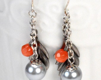 Gray Pearl Dangles, Pewter Silver Feather Dangle Earrings, Orange Dangles, Long Modern Earring Dangles, Grey and Orange Earring Drops (3371)