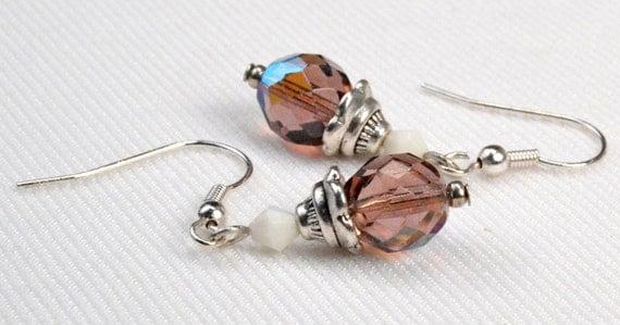 Purple Crystal Dangle Earrings, Faceted Amethyst Aurora Borealis Crystal Earrings, Purple Sparkle Drop Earring, Purple Earring Dangles (E20)