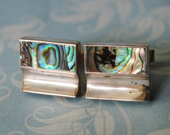 Vintage Sterling Cufflinks Inlaid Abalone Mexican Silver 1970s Cuff Link
