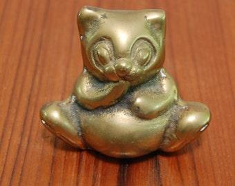 Vintage 1970s Brass Panda Bear Vintage Figurine Cute Display Animal