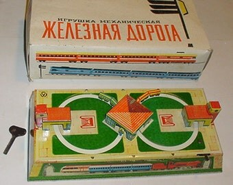 Toy TRAIN - All Tin Windup Toy Train from Russia - Original Box -Nice Graphics