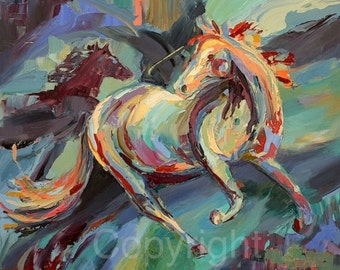 """Sold-Abstract Horse Oil Painting On Canvas of """"Horsing Around"""" Palette knife applied oil painting"""