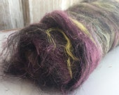 Art Batt // ecoethical natural and low-impact dyed mixed fiber with colorado yak, black tussah silk, purple flax