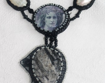 Ancient Mysteries Mixed Media Necklace with Orthoceras and Shell